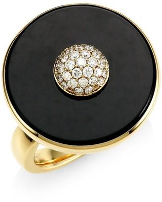 Maria Canale Pyramide 18K Yellow Gold, Diamond & Black Onyx Disc Ring