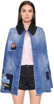 Just Cavalli Patchwork Cotton Denim Cape