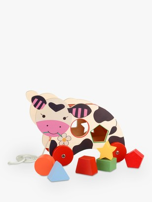 Orange Tree Cow Wooden Shape Sorter And Pull Along Toy