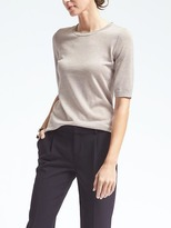 Banana Republic Silk Cashmere Elbow-Sleeve Pullover