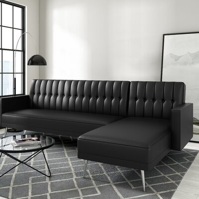 """Thumbnail for your product : Mercury Row Battiste 112"""" Wide Faux Leather Reversible Sleeper Sofa & Chaise"""