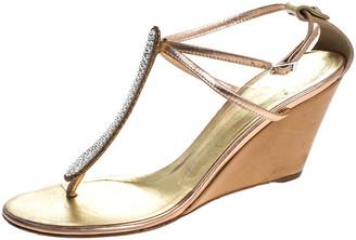 Giuseppe Zanotti Metallic Bronze Leather Embellished Thong Wedges Ankle Strap Sandals Size 38