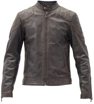 Belstaff Outlaw Quilted-panel Leather Jacket - Black