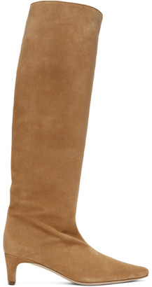STAUD Tan Suede Wally Boots