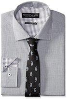 Nick Graham Men's Micro Check Cotton Poplin Dress Shirt with Tie