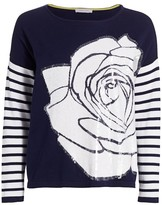 Joan Vass Rose Sequin Striped Sweater