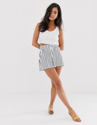 Asos Design DESIGN culotte shorts in white and navy stripe print-Multi