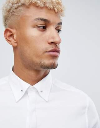 Asos Design DESIGN wedding skinny twill shirt with collar bar in white