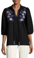 Suno Embroidered Front Cotton Blouse