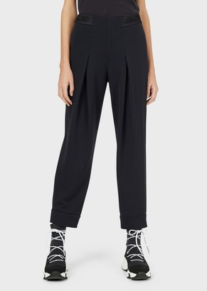 Emporio Armani Textured-Jersey Godet Trousers