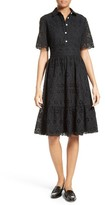 Kate Spade Women's Eyelet Embroidered Flounce Shirtdress