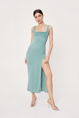 Nasty Gal Womens Square Neck Split Front Maxi Dress - Green - 14