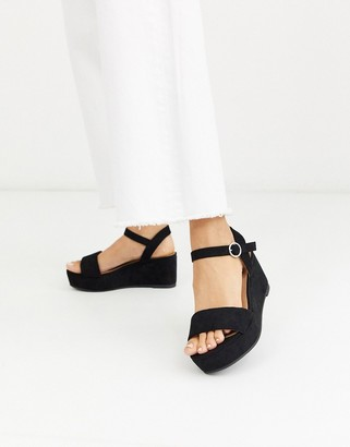 ASOS DESIGN Tallie flatform sandals in black
