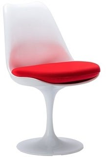 Overstock Tulip armless chair, made of plastic seat and Upholstered, Chair swivels 360A, Set of 2