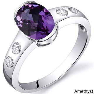 Oravo Sterling Silver Oval-cut Gemstone Solitaire and Cubic Zirconia Ring