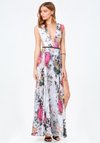 Bebe Print Double Slit Gown