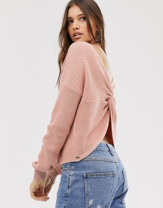 Hollister reversable knit sweater in blush-Pink
