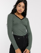 JDY Molly long sleeve v neck lace trim top