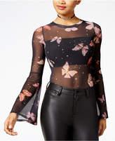 Material Girl Juniors' Bell-Sleeve Mesh Bodysuit, Created for Macy's