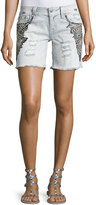 Miss Me Embroidered Cutoff Denim Shorts, Light Wash 92