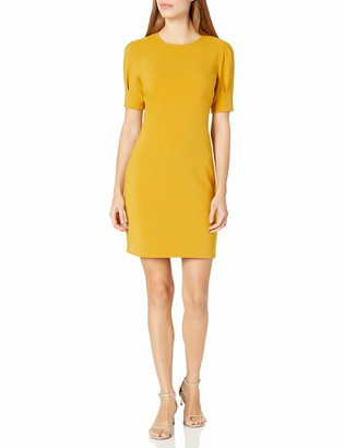 Lark & Ro Amazon Brand Women's Fluid Stretch Crepe Puff Half Sleeve Crew Neck Dress