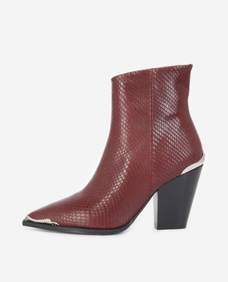 The Kooples Snake-effect burgundy leather boots