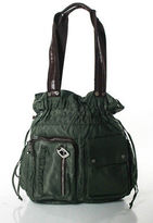 Tyler Rodan Green Brown Nylon Medium Drawstring Shoulder Handbag