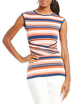 Preston & York Tanya Striped Rouched Top