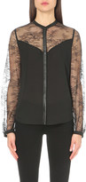 The Kooples Leather-trim lace and woven shirt