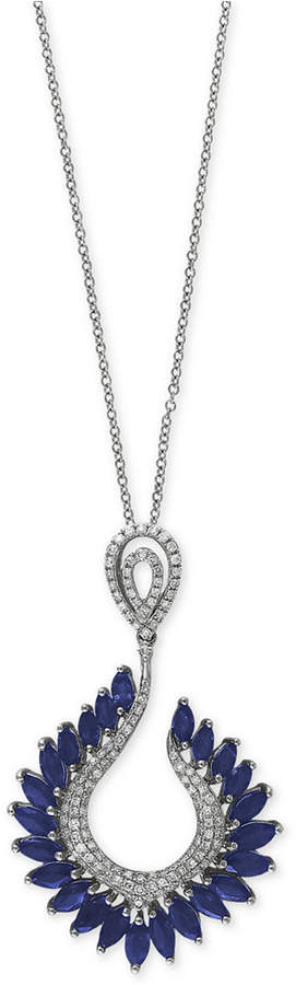 Effy Royale Bleu by Sapphire (4-3/8 ct. t.w.) and Diamond (1/2 ct. t.w.) Pendant Necklace in 14k White Gold