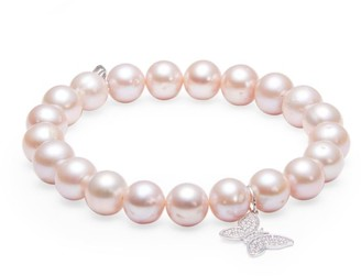 Sydney Evan 14K White Gold, 8MM Pink Pearl & Diamond Butterfly Charm Beaded Bracelet