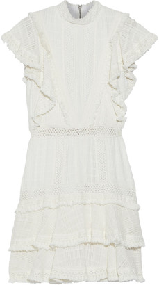 Alice + Olivia Bea Tiered Fringe-trimmed Crocheted Cotton Mini Dress