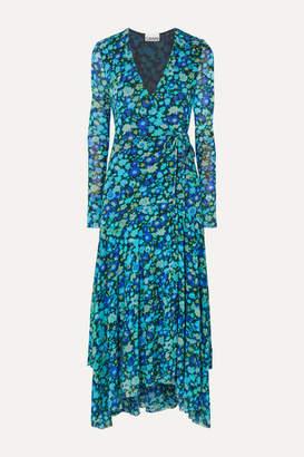 Ganni Floral-print Stretch-mesh Wrap Midi Dress - Blue