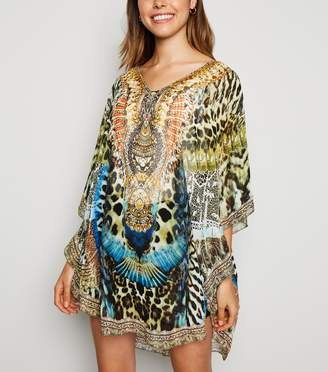 New Look Cameo Rose Animal Print Chiffon Kaftan