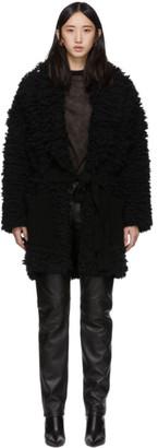 Alanui Black Faux-Fur Stitches Coat