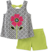 Kids Headquarters 2-Pc. Flower Bow-Back Top & Shorts Set, Baby Girls (0-24 months)