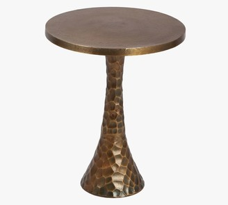 """Pottery Barn Jessalyn 16"""" Round Hammered Metal Accent Table"""