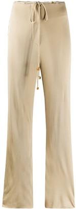 Nanushka Flax ribbed wide-leg trousers