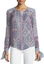 Rebecca Taylor Paisley-Print Silk Blouse W/Tie Sleeves, Blue Admiral Multi