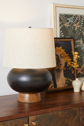 Anthropologie Cait Wooden Table Lamp By in Black