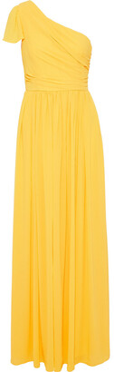 Mikael Aghal One-shoulder Gathered Crepe Gown