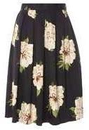Dorothy Perkins Womens Black Floral Full Skirt- Black
