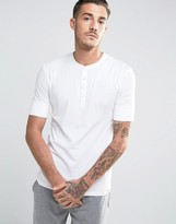 Paul Smith Short Sleeve Henley Top In Slim Fit White