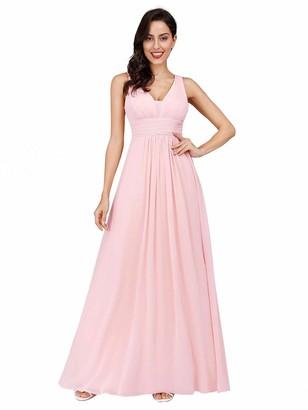 Ever Pretty Ever-Pretty Women's Empire Waist Long Maxi Easter Dress Burgundy 8 UK