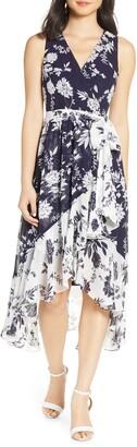 Eliza J Chiffon High/Low Faux Wrap Midi Dress