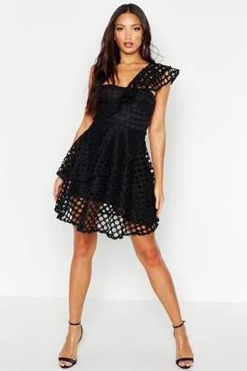 boohoo One Shoulder Crochet Lace Skater Dress