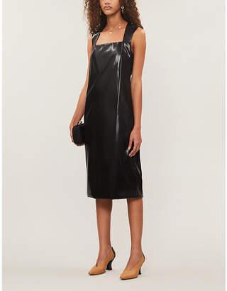 Bottega Veneta Square-neck faux-leather midi dress