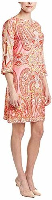 Sandra Darren Women's 1 Pc 3/4 Paisley Printed Ity Shft Dress