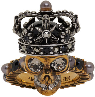 Alexander McQueen Gold and Silver Pearl King Skull Ring