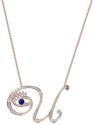Tabayer Eye 18K Rose Gold, Sapphire & Diamond Unique Pendant Necklace